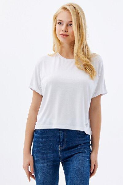 Kadın Beyaz Basic Armalı  T-Shirt