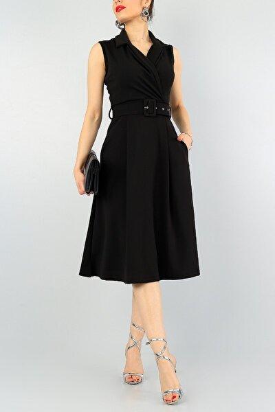 Kadın Siyah Esnek Kumaş Kruvaze Yaka Kemer Detaylı Pileli Elbise 59434