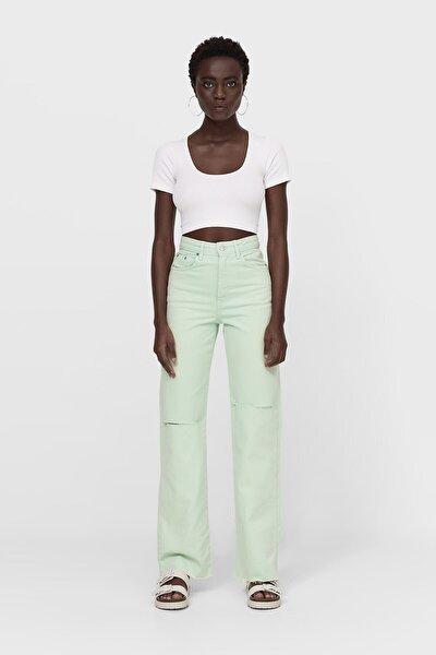 Kadın Fıstık Yeşili Straight Fit Jean 04891733