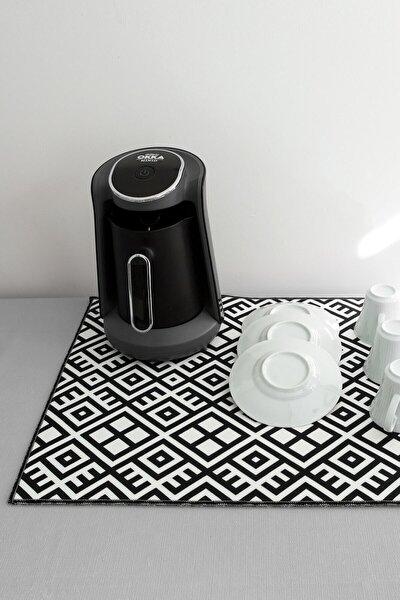 Baskılı Bulaşık Kurutma Matı 46x36 Cm Kurulama Bezi Örtüsü Mf-057 Siyah