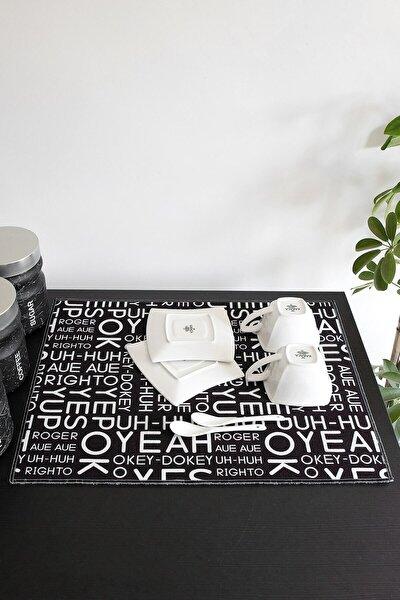 Baskılı Bulaşık Kurutma Matı 46x36 Cm Kurulama Bezi Örtüsü Mf-064 Siyah