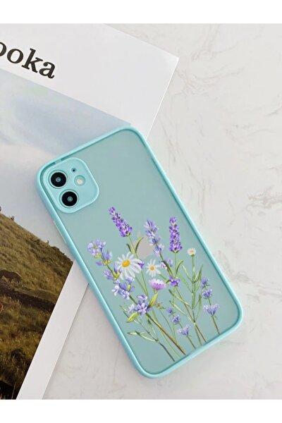 Iphone 11 Uyumlu Su Yeşili Kamera Lens Korumalı Lavender Desenli Lüx Telefon Kılıfı