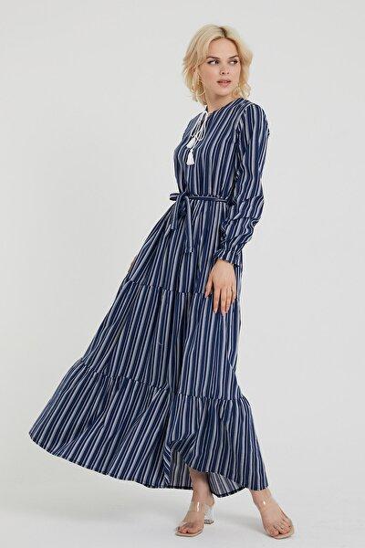 Kemerli Çizgili Uzun Elbise