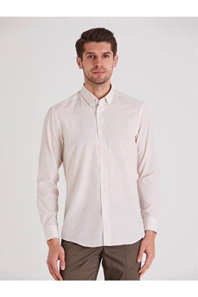 Bej Desenli Pamuklu Polyester Erkek Gömlek - Slım Fıt