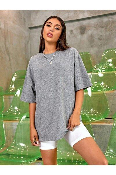 Kadın Gri Oversize Basic Tshirt