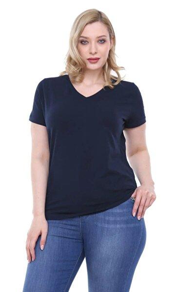 Kadın V Yaka T Shirt Lacivert