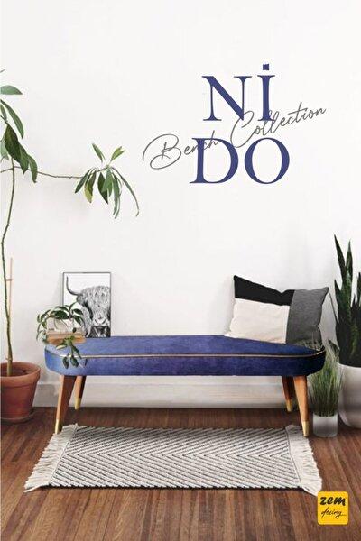 Nido Bench Blue - Masif Ahşap Ayaklı 120 Cm L6010