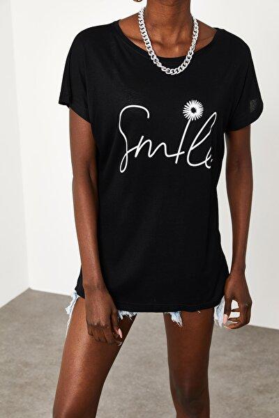 Kadın Siyah Yumuşak Dokulu Esnek Örme Baskılı T-Shirt 1KZK1-11554-02