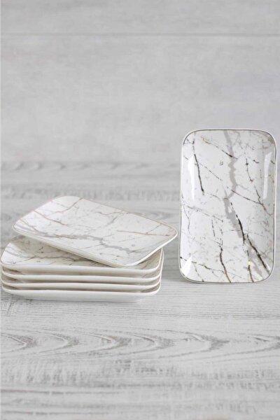 Vanessa 18x8 Cm Porselen 6'lı Mermer Kayık Tabak Beyaz 10597