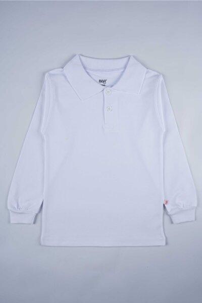 Unısex Çocuk Beyaz Uzun Kol Polo Yaka  Lakos Okul Tişörtü