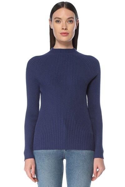 Kadın Slim Fit Mavi Dik Yaka Kazak 1075722