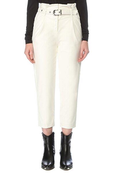 Kadın Slim Fit Ekru Büzgü Detaylı Pantolon 1076052
