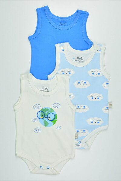 Erkek Bebek Baskılı Renkli 3'lü Atlet Badi Zıbın Takımı