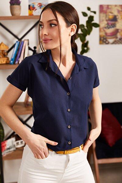 Kadın Lacivert Kısa Kol Gömlek ARM-19Y001065