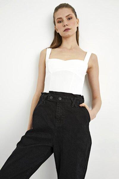 Kadın Beyaz Kalın Askılı Crop Bluz