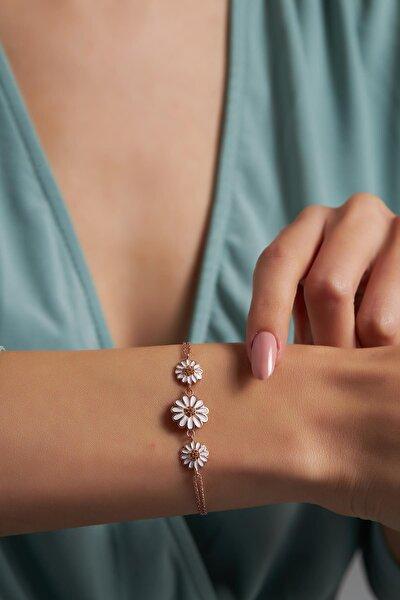 Ninova Üçlü Papatya Model Mineli Rose Kaplama Gümüş Bileklik