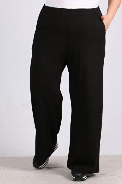 Kadın Siyah Beli Lastikli Penye Pantolon 9012