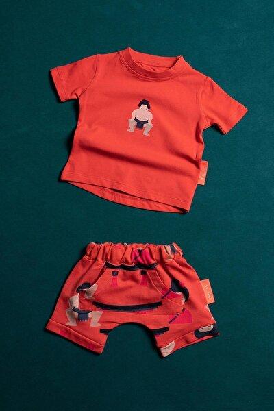 Unisex  Bebek Çocuk Kırmızı Moinoi Sumo Desenli  Yazlık Badi Şort Takım 50461