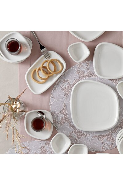 Lena 26 Parça 6 Kişilik Kahvaltı Seti Beyaz