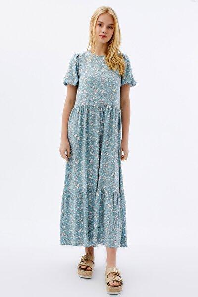 Kadın Çiçekli Kısa Kollu Yazlık Elbise P21s201-2034