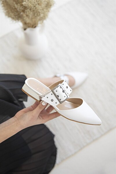 Kadın Beyaz Topuklu Deri Sandalet