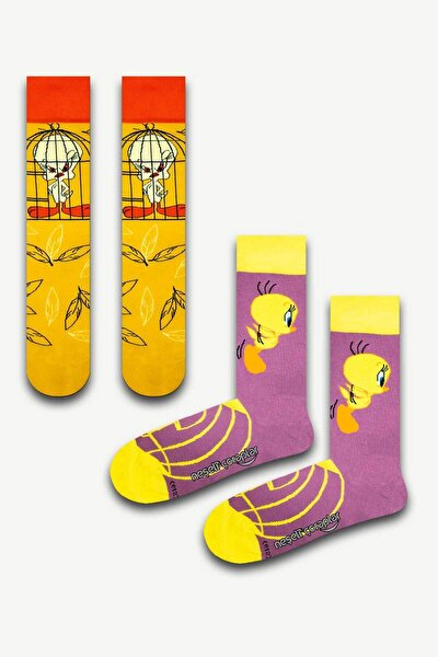 2'li Angry Tweety Renkli Çorap Set