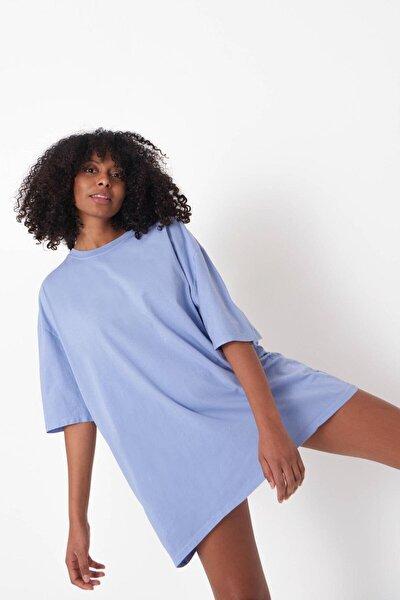 Kadın Lila Oversize T-Shirt P9536 - B13 Adx-0000023955