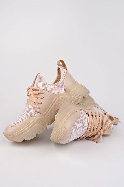 Farida Kadın Dolgu Topuk Sneaker Spor AyakkabıBej