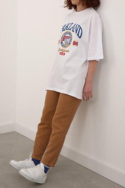 Kadın Beyaz Pamuklu Baskılı Kısa Kol T-shirt