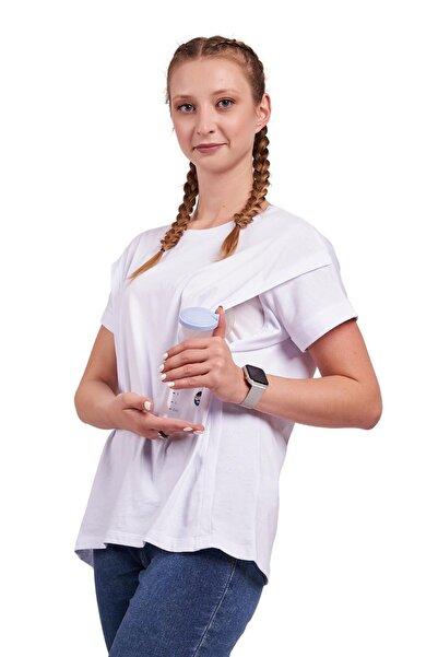 Hamile Ve Emzirme Tişörtü %100 Pamuk Oversize Geniş Kalıp Beyaz