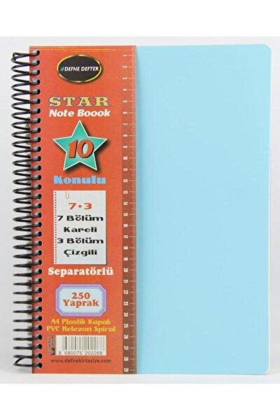 Star Spiralli A4 Plastik Kapak Ayraçlı Defter 7 Kareli+3 Çizgili 250 Yaprak