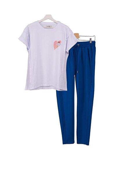 2li Lohusa Takımı Emzirme Tişörtü Baskılı Beyaz Ve Eşofman Altı Mavi