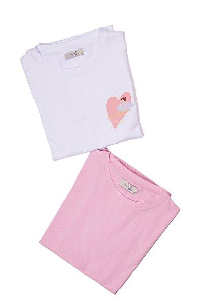 2'li Hamile Emzirme Tişörtler, 2'li Paket, Geniş Kalıp, Baskılı Beyaz Ve Baskısız Pembe
