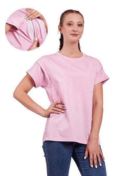 Kadın Pembe Oversize Pamuklu Hamile Ve Emzirme T-Shirt