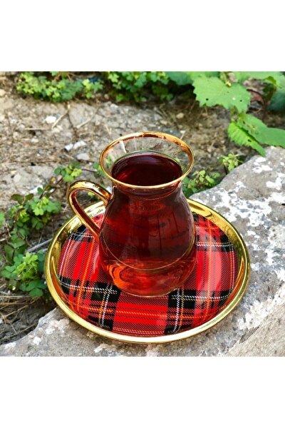 Nihavent Ekose Kırmızı Kulplu 6'lı Çay Seti