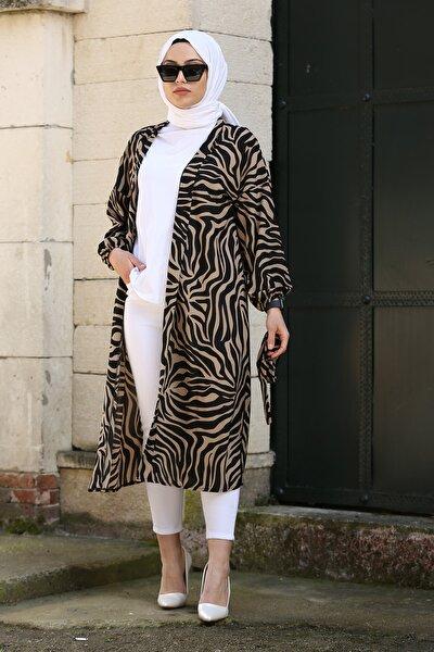 Kadın Bej Zebra Desenli Kimono