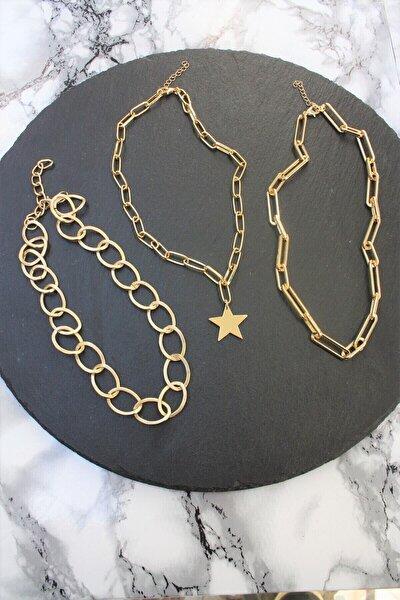 Kadın Gold Kaplama Üçlü Kombin Zincir Kolye
