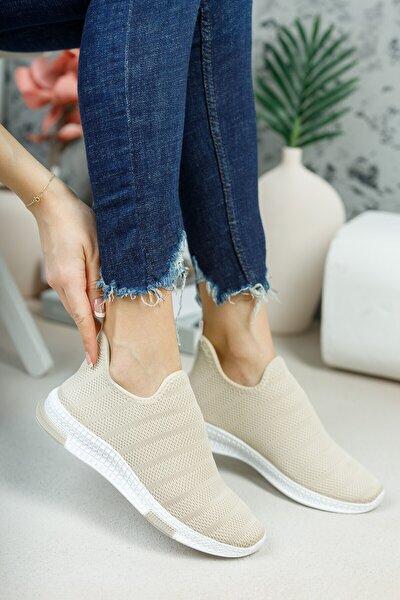 Kadın Krem Çorap Sneaker