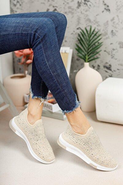 Kadın Krem Taşlı Çorap Sneaker