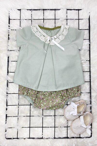Kız Bebek Yeşil Beyaz Çiçekli Romper Krem Yaka Bluz