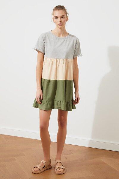 Gri Büzgü Detaylı Örme Elbise TWOSS20EL1638