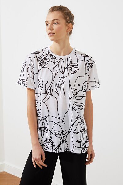 Beyaz Baskılı Boyfriend Örme T-Shirt TWOSS20TS0764