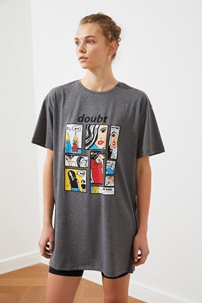 Antrasit Baskılı Örme Elbise TWOSS20EL2604