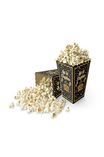 Pop Corn Mısır Kutusu 10'lu Siyah-gümüş Iyiki Doğdun