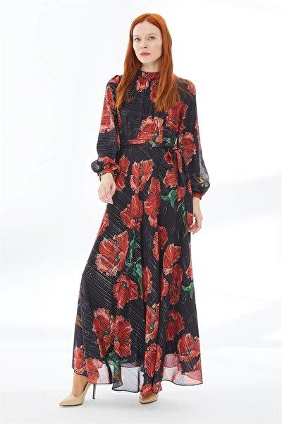 Kadın Siyah Kırmızı Çiçek Desenli Uzun Elbise E-0147