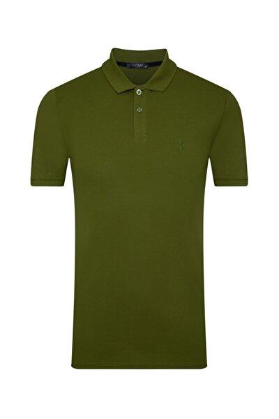 Erkek Açık Yeşil Slim Fit Polo Yaka  Tişört