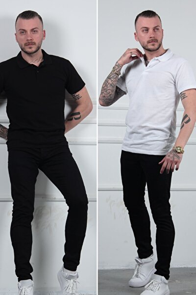 2li Siyah Beyaz Polo Yaka Erkek Tişört Tshirt