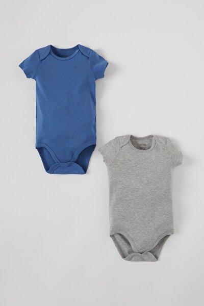 Erkek Bebek Basic Kısa Kol 2'li Çıtçıtlı Pamuklu Body