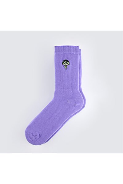 Unisex Lila Powerpuff Girls Buttercup Nakışlı Çorap