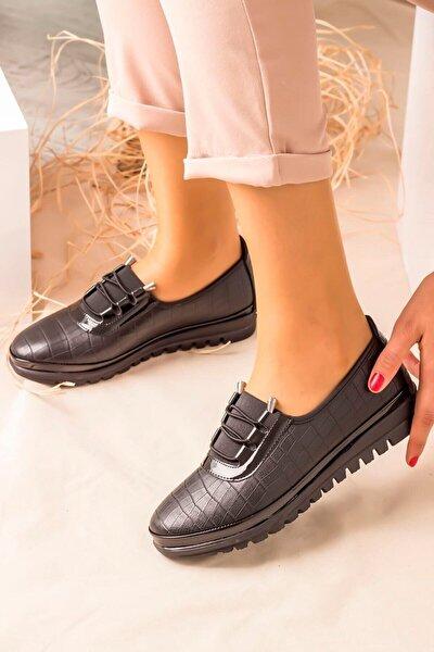Kadın Siyah Günlük Ortopedik Cilt Ayakkabı
